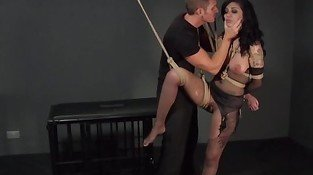 Tied up busty sub banged in bdsm