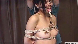 Extreme Japanese BDSM nose hook play subtitle