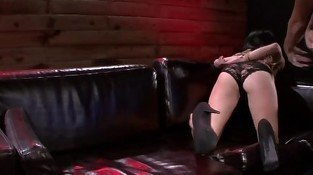 Submissive Mia Hurley lashed to a beam