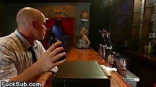 Huge hooters cute blond waitress punished