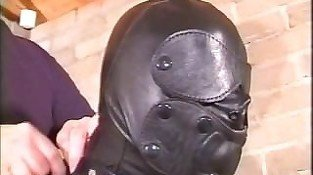 Hooded in Black Leather Armbinder