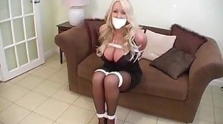 Babe with huge boobs tied and gagged