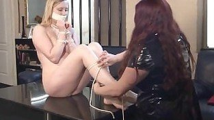Blonde fetish babe Satine Sparks lesbian bondage and lezdom slave tied