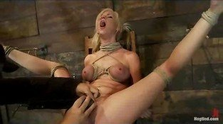 Bound blonde made to cum by vibe and fingers