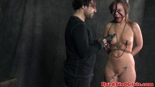 Crotch roped nipple clamped teen sub moans