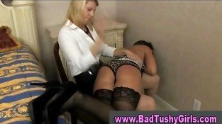 Naughty babe in stockings gets spanked