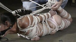 very strict hogtie!