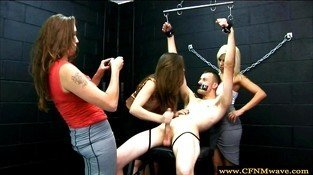 CFNM dominate their bound and gagged sub by tugging