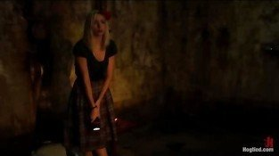 Blonde in abandoned building found ritual bondage