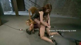 Blonde tortured by lesbian mistress with electric shocks screaming in pain and pleasure