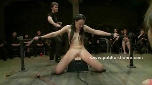 Pervert public is invited to bondage sex orgy with naked slut with small tits brought tied