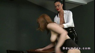 Hairy redhead slave femdom toyed in dungeon