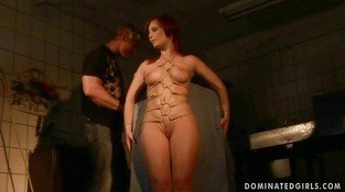 Cute redhead gets tied up and fucked