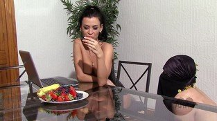 American Mistress instructs Arab slave to eat fruit off her with cream and syrup