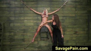 FetishNetwork Marsha May lezdom bondage with Kylie Rogue