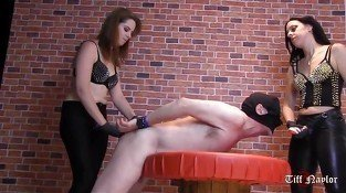 Hot femdoms face fuck and ass fuck horny slave in dungeon