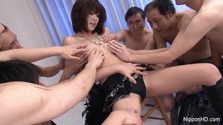 Japanese cutie gets her face &amp, tits showered with jizz