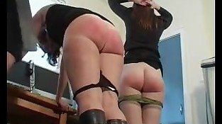 Two Girls Spanked and Caned hard - bondage-dom.com