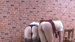 Cute naughty schoolgirls with peachy bums get firm spanking