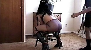 Big tits hottie bound and bent-over for a BDSM session