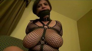 Curvy girl in fishnet bound and gagged