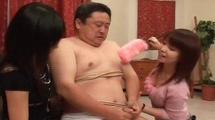 Fat guy having fun with two Asian horny