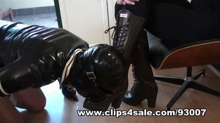 Milking Slave Cum Onto My Hunter Rubber Boots &amp, Eating It